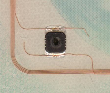 Vista del chip RFID y su antena