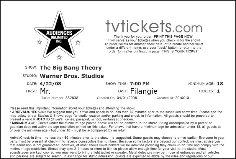 The big bang theory tickets